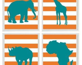 Safari Nursery Wall Art Prints  - Teal Orange Africa Giraffe Elephant Rhino - Children Room Home Decor
