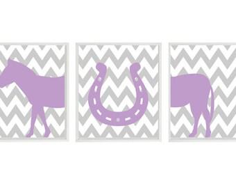Horse Nursery Art Print Set - Chevron Horseshoe Western Gray Lavender Purple -  Children Kids Wall Art Room Home Decor Set