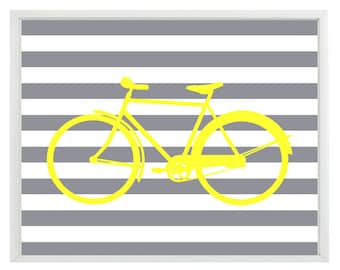 Bicycle Bike Wall Art Print  - Yellow Gray Stripes - Modern Nursery Children Room Home Decor