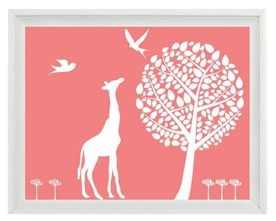 Giraffe Nursery Wall Art Print , Bird Tree Silhouette Pink White Children Kid Girl Room Custom Home Decor