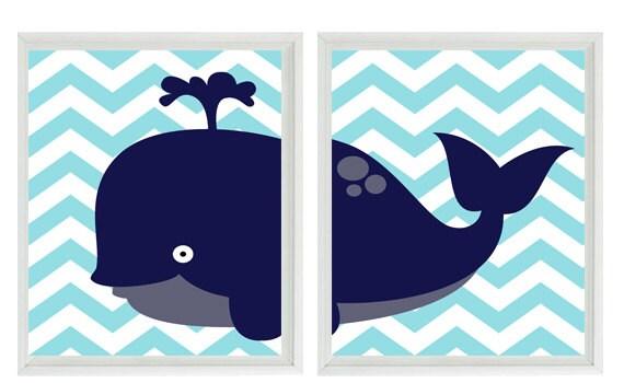 Whale Chevron Wall Art Print  - Navy Blue Aqua- Nautical Nursery Children Room Home Decor