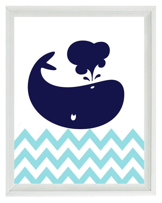 Nautical Whale Chevron Wall Art Print  - Navy Blue Aqua White - Nursery Children Room Home Decor  print