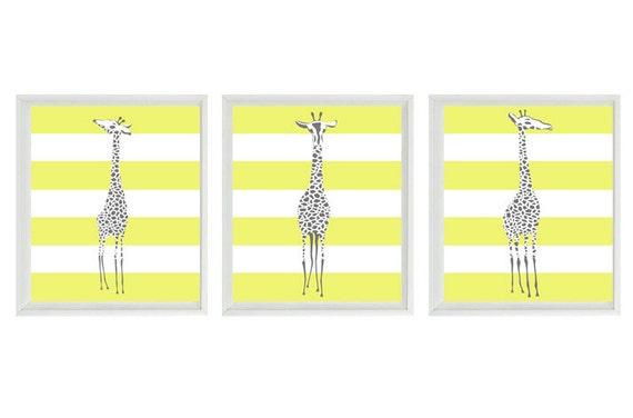 Giraffe Art Prints  - White Yellow Gray Decor Stripes Safari Modern - Children Room Kids Home Decor