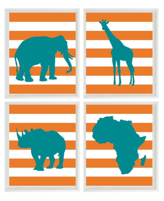 Safari Nursery Wall Art Prints  - Teal Orange Africa Giraffe Elephant Rhino - Children Room Home Decor set of 4 8x10