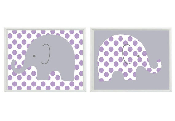 Elephant Nursery Wall Art Print Purple Gray Decor Polka Dots