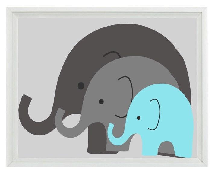 Elephant Nursery Wall Art Print Mom Baby Dad Family Aqua