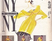 McCalls 4178 Vintage 80s NY Collection Peter Pan Collar Jacket, Top, Skirt, Pants, Turban, Flower and Bow Pattern, UNCUT