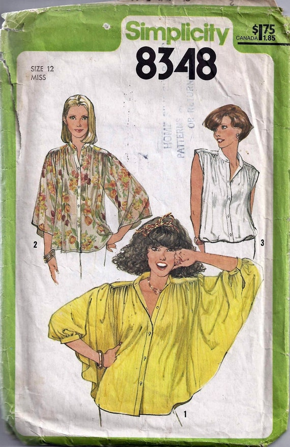 Simplicity 8348 Vintage 70s Winged Sleeve Blouse Pattern