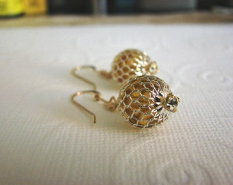 Gold  Swarovski Crystal Earrings  Mesh  Drop Earrings  Dangle  Free Ship