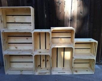 alternating size, extra large wooden crate bookshelf