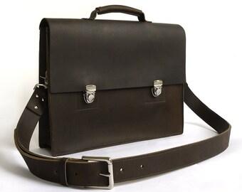 Mens Deep Brown Leather Messenger Bag/Briefcase
