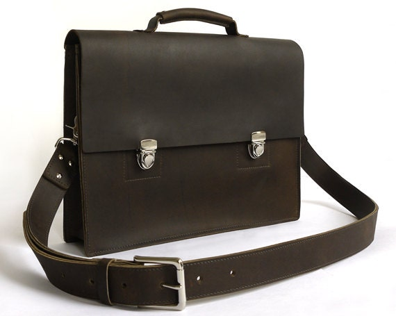 Mens Deep Brown Leather Messenger Bag/Briefcase