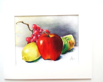 Fresh Fruit digital print from colored pencil painting also available as greeting or note card.