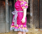 Fall Inspired Pink and Brown Girl's Boutique Style Peasant Dress (Sizes 12 Months-5T)