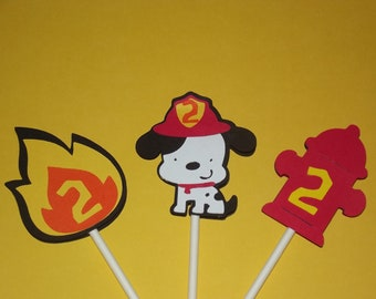 Dalmatian, Flames, and Fire Hydrant Cupcake Toppers
