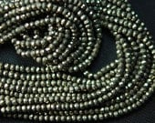 Full 14 inch Long Strand, Best PYRITE Finest Quality Micro Faceted  Rondells Beads Shape 4mm