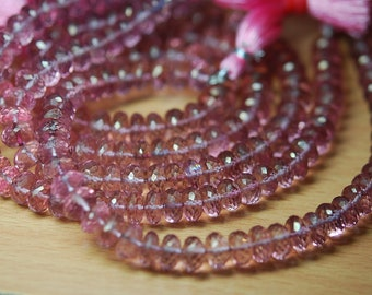 8 Inch Strand, Mystic PINK Quartz Micro Faceted RONDELLS,7-8mm