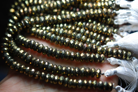 8 Inch Mystic Gold, BLACK SPINEL Faceted Rondelles Beads Shape 7-8mm