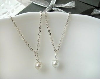 Set of 2-Pearl Pendant Necklaces,  Pearl Bridesmaid Jewelry Gifts, White Pearl Necklace, Bridesmaid Necklaces