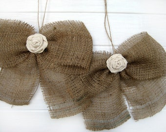 Burlap Bow Rustic Wedding Fabric Rose Set of 2 Pew Bows  Aisle Decor on chairs or bench
