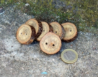 Wood Buttons-6  Handmade BlackJack tree branch buttons with the bark-1 1/5 inches diameter.Special for knitting hats.purses,crochet hats