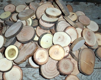 Wood Slices - Tree Slices - 50 Assorted Blank Tree Branch Slices DIY Wedding  Decor 1 2/5 - 2 3/5 inches - Craft Supplies -Jewelry Supplies