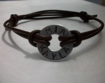 Stamped washer bracelet