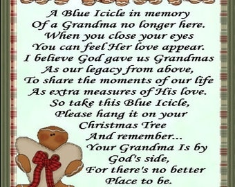 In Loving Memory of Grandmother Blue Icicle Ornament