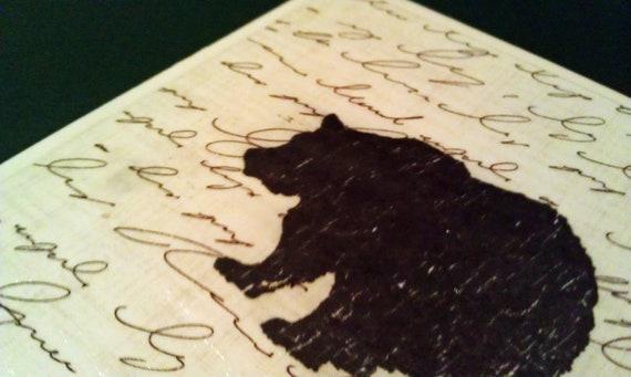 Bear Coaster - Set of 4, Bear Silhouette Over Cursive Writing, Ceramic