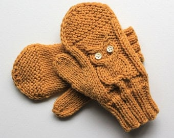 Knitting Pattern Gloves Child : Owl gloves Etsy