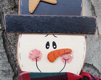 Merry Christmas Snowman - Wood Christmas Outdoor or Indoor Decoration -  Welome Sign