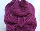 Hand-Knit Purple Hat with Over-sized Bow for Baby/Toddler