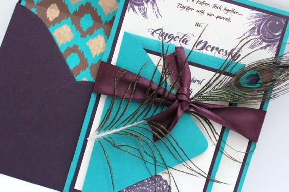 Turquoise And Brown Wedding Invitations: Wedding Invitations Peacock Dark Purple And By AlexandriaLindo
