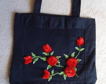VINTAGE  canvas black tote