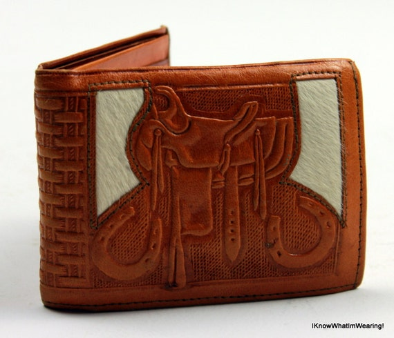 Vintage Hand Tooled Leather Cowhide Wallet Horse Mens Wallet Equestrian Accessory