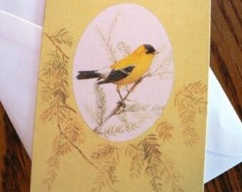 vintage cards ... THANKING YOU Yellow  Bird CARD no envelope ...