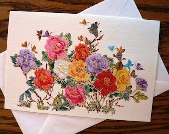 destash cards scrapbooking ... FLORAL SPRAY blank CARD lovely with envelope ...