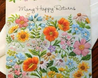 vintage cards ... MANY HAPPY RETURNS floral retro Card with envelope ...