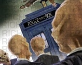 Poster Doctor Who against the Silence Jumping over the TARDIS Matt Smith Illustration Digital Painting 5.5 x 8.5 unframed