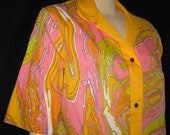 Vintage Models Coat Robe Lingerie Psychedelic Snap Front Gown 60s XL B42