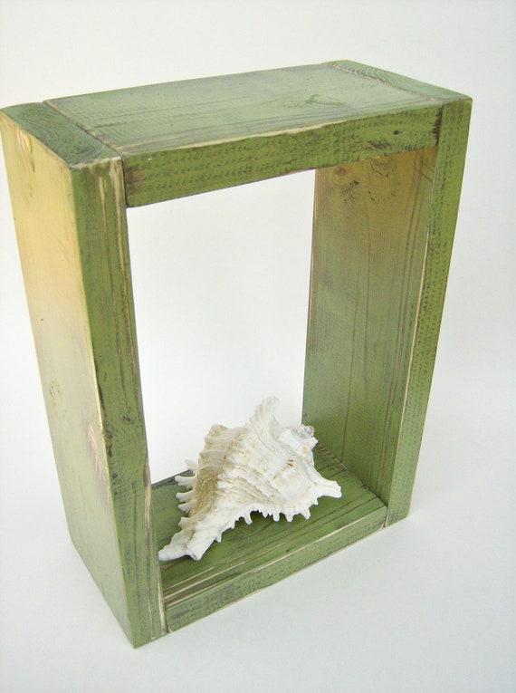 Items similar to shadowbox avocado green shabby chic for Avocado bathroom ideas