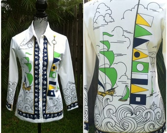 The Nautical Top - 60s Sailboats & Flags Adorn this White Designer Button-up Blouse, Small