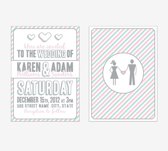 Items Similar To Custom Stick Figure Wedding Invitation