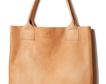 Handmade PURE vegetable tanned leather natural floppy shopper TOTE lap top bag handbag veg tan, can also be PERSONALIZED