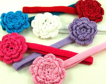 Crochet Flower Headband / Cotton Headband / Newborn Headband / Baby Headband / Infant Headbands / Photo Prop