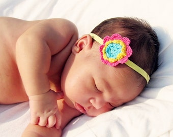 Infant Headbands / Elastic Headband / Newborn Headband / Baby Headband / Photo Prop / Crochet Flower Headband