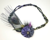 Bohemian hippie style, braided elastic headband with hand-dyed silk flower, peacock feather and mix of small feathers