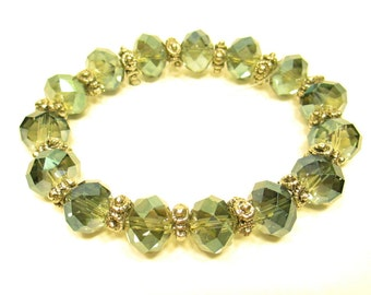 Beaded bracelet, Crystal bracelet, Green with purple crystals 7mm with pewter spacers on stretchy cord