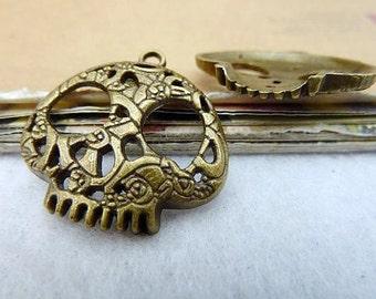 10% OFF - Antique Brass Skull Charm, Halloween Supplies, 27x27mm, Pkg of 10PCS, C075.AN09.P10
