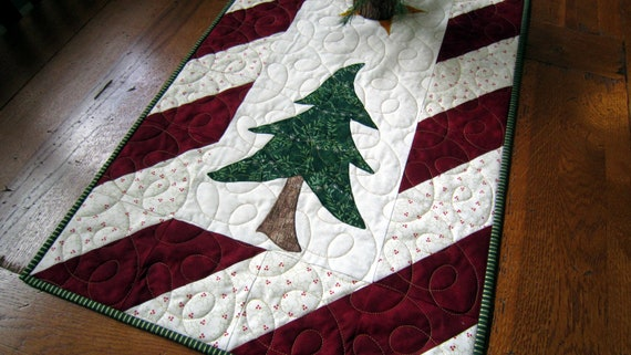 Trees Christmas christmas candy table Cane Table Runner with Border and  Appliquéd runner Candy